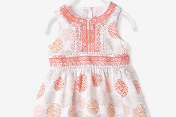 Festliches Baby Mädchenkleid koralle bedruckt