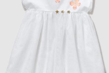 Festliches Babykleid aus Satin und Tüll weiß