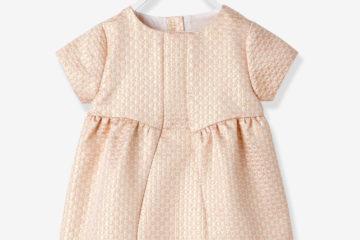 Festliches Babykleid für Mädchen lachs glanzeffekt