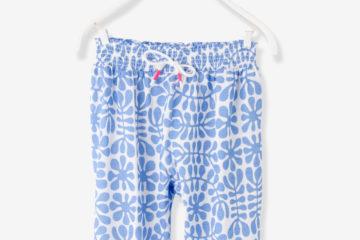 Gesmokte Mädchenhose für Babys blau bedruckt