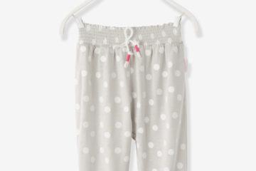 Gesmokte Mädchenhose für Babys grau bedruckt