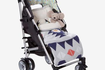 Gestrickter Fußsack für Kinderwagen grau etnnomuster von vertbaudet