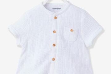 Hemd-Body für Jungen weiß/grau