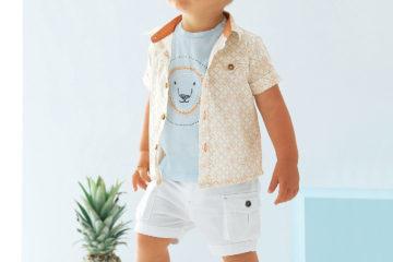 Hemd für Baby Jungen wollweiß bedruckt