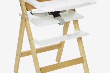 Hochstuhl aus Holz weiß/natur von vertbaudet