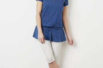 Homewear für Schwangerschaft und Stillzeit marine getupft