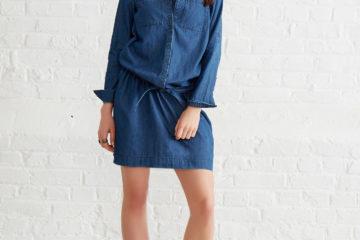 Jeanskleid für Schwangerschaft und Stillzeit blue stone