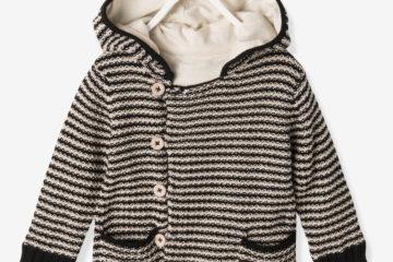 Jungen Kapuzen-Strickjacke für Babys schwarz gestreift