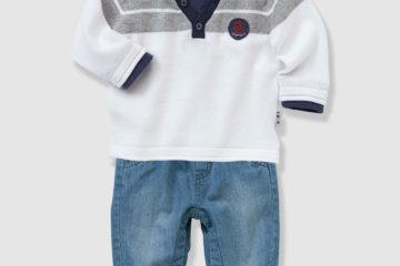 Jungenset aus Baby Pullover und Jeans gestreift+blue stone