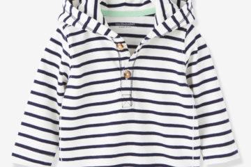 Kapuzenshirt für Baby Jungen marine gestreift