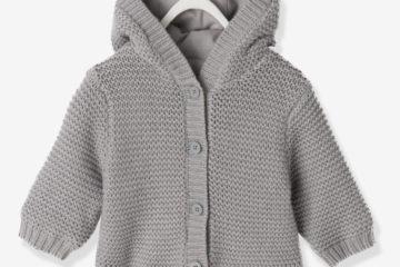 Kapuzenstrickjacke für Babys mit Wollanteil grau