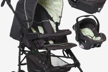 Kinderwagen + Babyschale Babywanne anthrazit/dreiecke von vertbaudet
