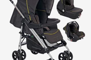 Kinderwagen + Babyschale Babywanne anthrazit/sterne von vertbaudet