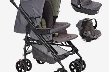 Kinderwagen + Babyschale Babywanne grau/dreiecke von vertbaudet