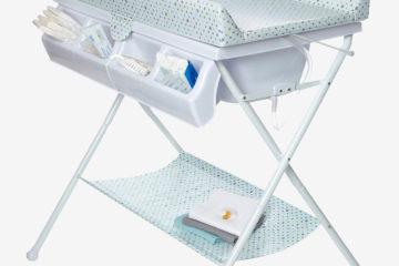 Klapp-Wickeltisch mit Baby-Badewanne weiß bedruckt/sterne von vertbaudet