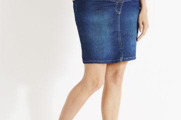 Kurzer Umstandsrock mit Jeans-Look blue stone