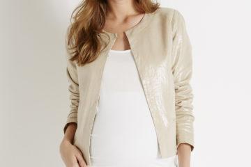 Leinen-Blazer für die Schwangerschaft beige/glanzeffekt