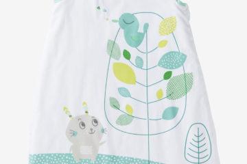 Mitwachsender Sommerschlafsack weiß/grün Größe 55/90Cm von vertbaudet