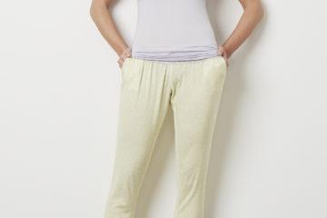 Pyjamahose für Schwangerschaft und Stillzeit gelb bedruckt