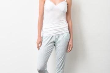 Pyjamahose für Schwangerschaft und Stillzeit grün bedruckt