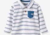 Rugbyshirt für Baby Jungen weiß gestreift