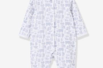 Samtstrampler für Babys weiß bedruckt