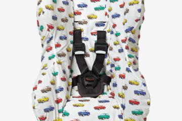 Schonbezug für Babyschale +/1 weiß bedruckt von vertbaudet