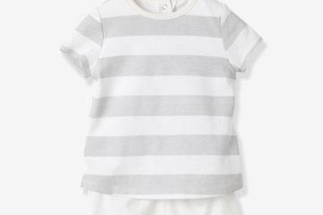 Set: Shirtbody und Shorts für Babys gestreift+weiß