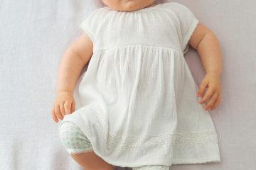 Set aus Kleid und Leggings für Babys wollweiß+bedruckt
