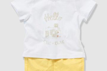 Set aus T-Shirt und Shorts für Baby Jungen weiß+gelb