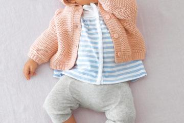 Set aus Tunika und Leggings für Babys gestreift+grau meliert