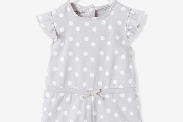 Sommer-Overall für Baby Mädchen grau getupft