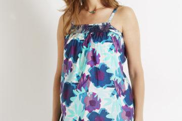Sommerbluse für die Schwangerschaft aqua/violett bedruckt