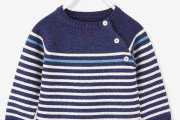 Streifenpullover für Baby Jungen marine gestreift