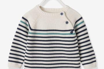 Streifenpullover für Baby Jungen wollweiß gestreift