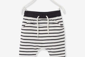 Sweat-Hose für Baby Jungen wollweiß gestreift