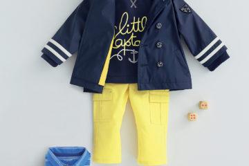 Sweatshirt und Hose für Baby Jungen dunkelblau+gelb