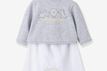Sweatshirt und Hose für Babys grau meliert+weiß