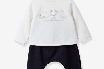 Sweatshirt und Hose für Babys wollweiß+schwarz
