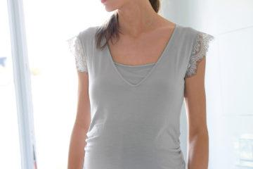 T-Shirt für Schwangerschaft und Stillzeit hellgrau