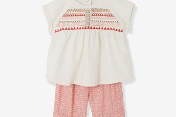 T-Shirt und Hose für Baby Mädchen wollweiß/bedruckt