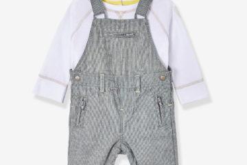 T-Shirt und Latzhose für Baby Jungen weiß+grau