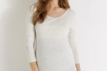 Umstands-Shirt mit Glanzeffekt wollweiß