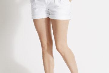 Umstands-Shorts aus Baumwollstretch weiß