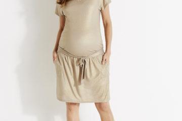 Umstands-Sommerkleid aus Viskose/Leinen beige/glanzeffekt
