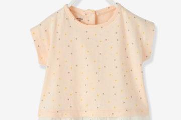 Volant Shirt für Baby Mädchen beigerosa bedruckt