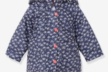 Wattierter Regenmantel für Baby Mädchen marine bedruckt
