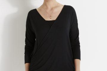 Wickelshirt mit Top für die Stillzeit schwarz