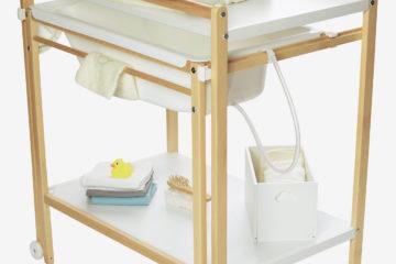Wickeltisch mit Badewanne ´´MagicTub´´ weiß/natur von vertbaudet