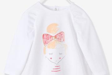 bedrucktes Baby T-Shirt für Mädchen weiß